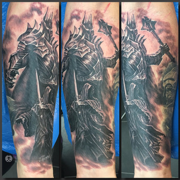 Sauron and Nazgûl on lower arm. On a Lord Of The Rings themed sleeve. Done at Fallen Angel Tattoo in Gävle, while I worked there.