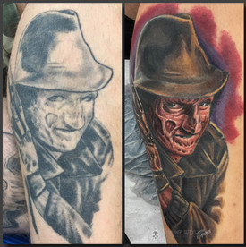 Touchup of an old Freddy tattoo, on calf. Done at Fallen Angel Tattoo in Gävle, while I worked there.