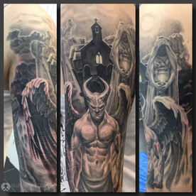 Lucifer, the fallen Angel, with background on upper arm. Done at Fallen Angel Tattoo in Gävle, while I worked there.