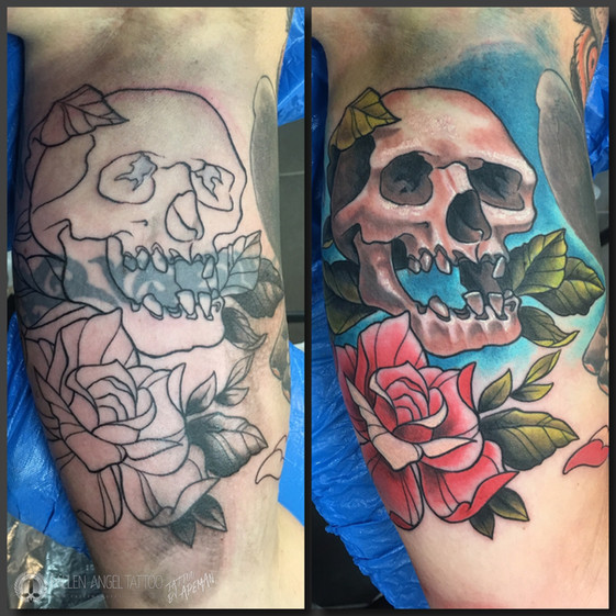 Freehand coverup on the inside of the upper arm. Done at Fallen Angel Tattoo in Gävle, while I worked there.