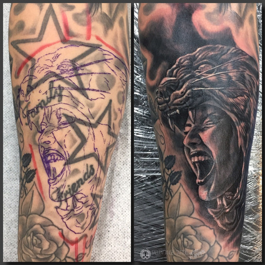 Coverup of stars on lower arm. Done at Fallen Angel Tattoo in Gävle, while I worked there.