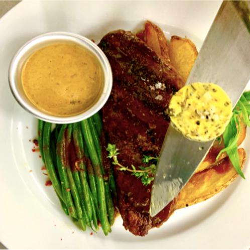 Wagyu Picanha Steak grillé aux Poivre Haricot Verts et Frites maison