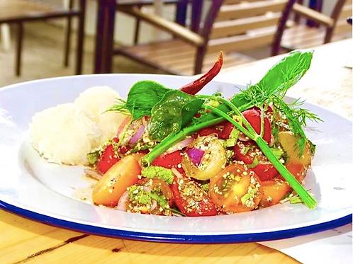 Larb Ma-keu Taed / Tomato salad and sticky rice