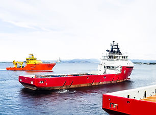 modern norwegian ships arriving to port