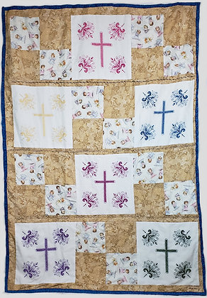 Hand Embroidered Cross Quilt