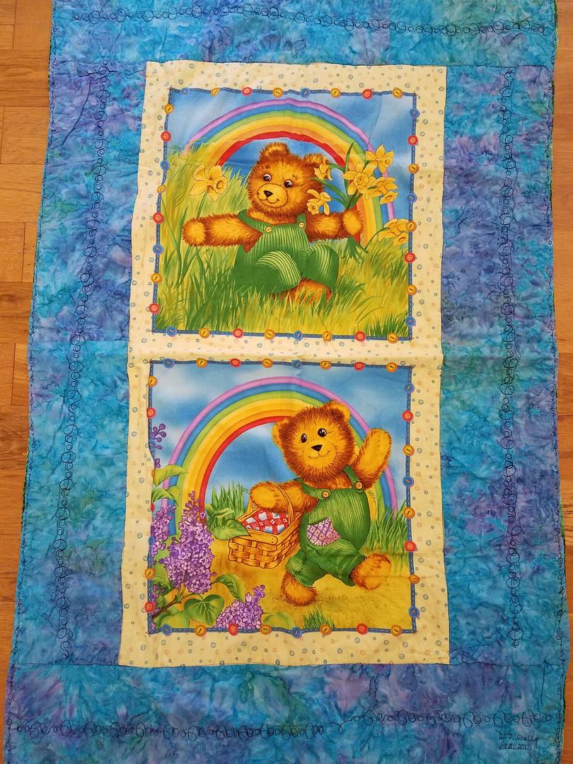 Rainbow Teddy Bears Baby Quilt