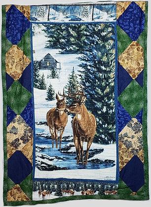 Winter River Deer