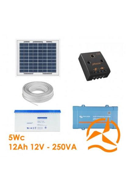 Kit Solaire 5 Wc 220 Volts - 250 VA - 200 Watts