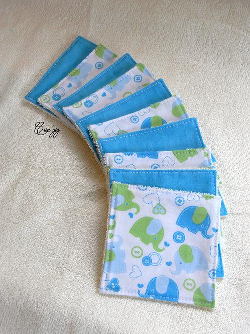 Lingettes éléphants/turquoise x10