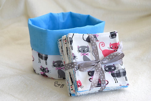 Lingettes Chats/turquoise + panier