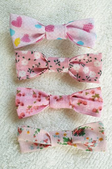 Lot de 4 barrettes roses