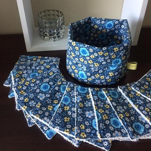 Lingettes fleuries bleues/jaunes x10