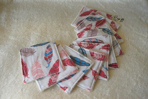 Lingettes plumes bleues/rouges x10