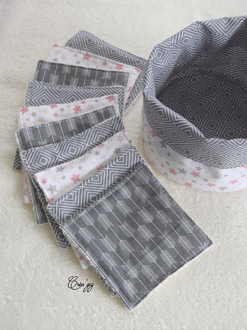 Lingettes motifs gris + panier