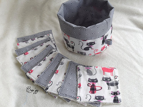 Lingettes Chats fushia/gris + panier