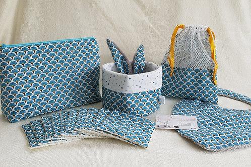 """Pack naissance complet """"éventails"""" bleus"""