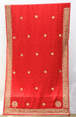 Printed Bandhani with gold embroidery