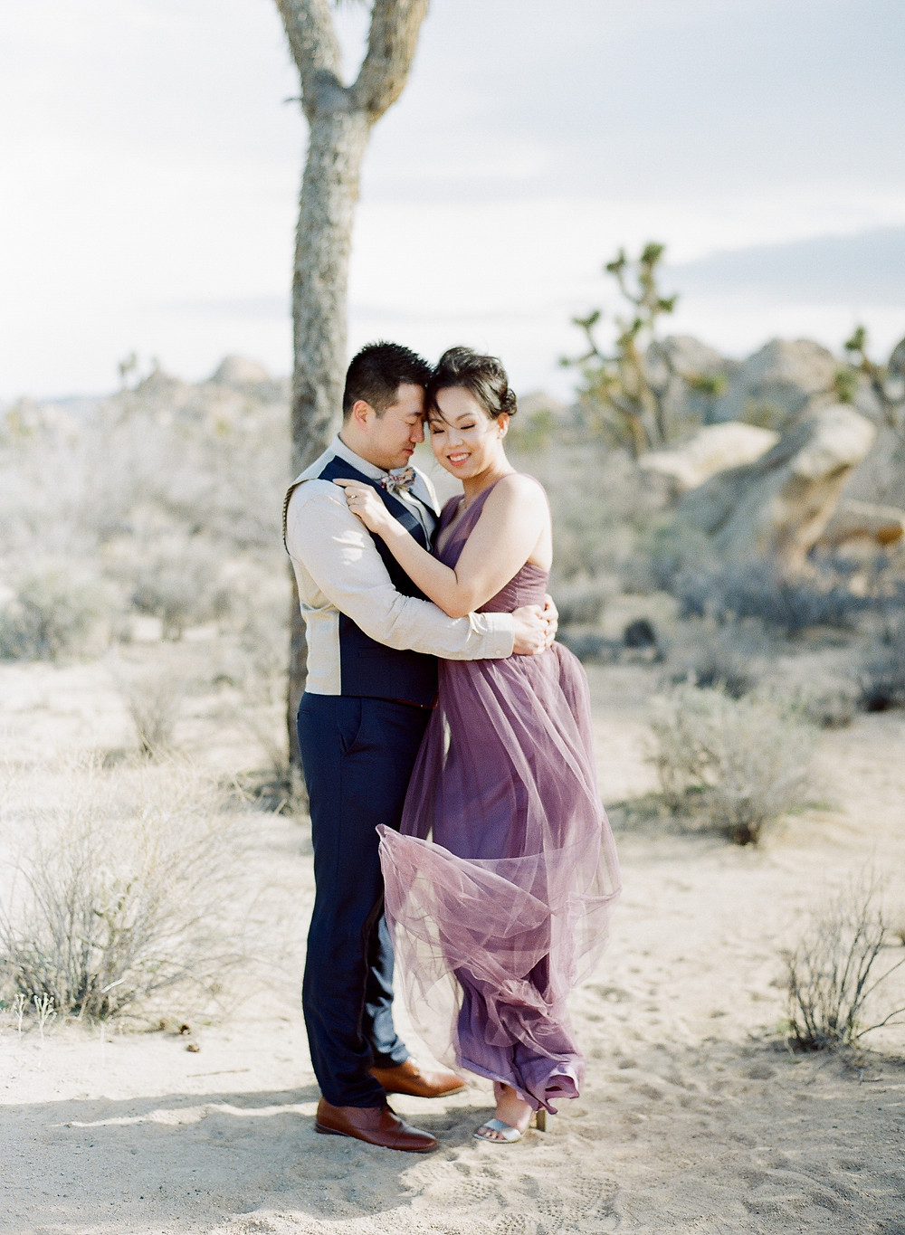 Asian couple engagement photos in Joshua Tree National Park