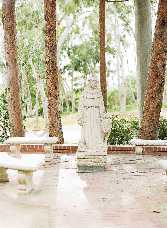 Palos Verdes Saint Statue with Eucalyptus Trees