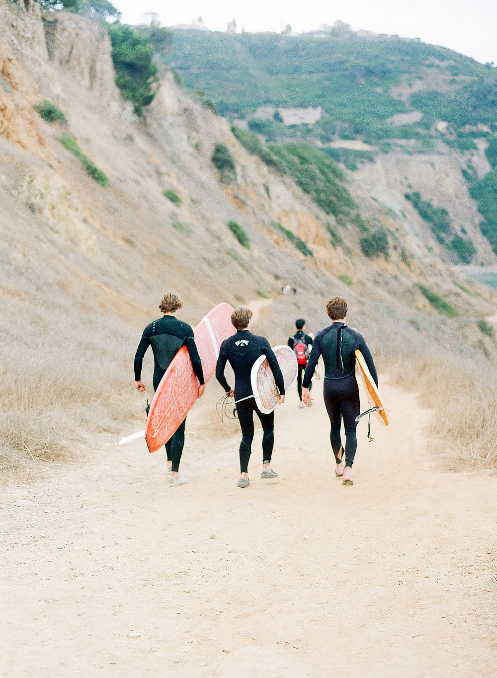 Surfers in Bluff Cove Palos Verdes California