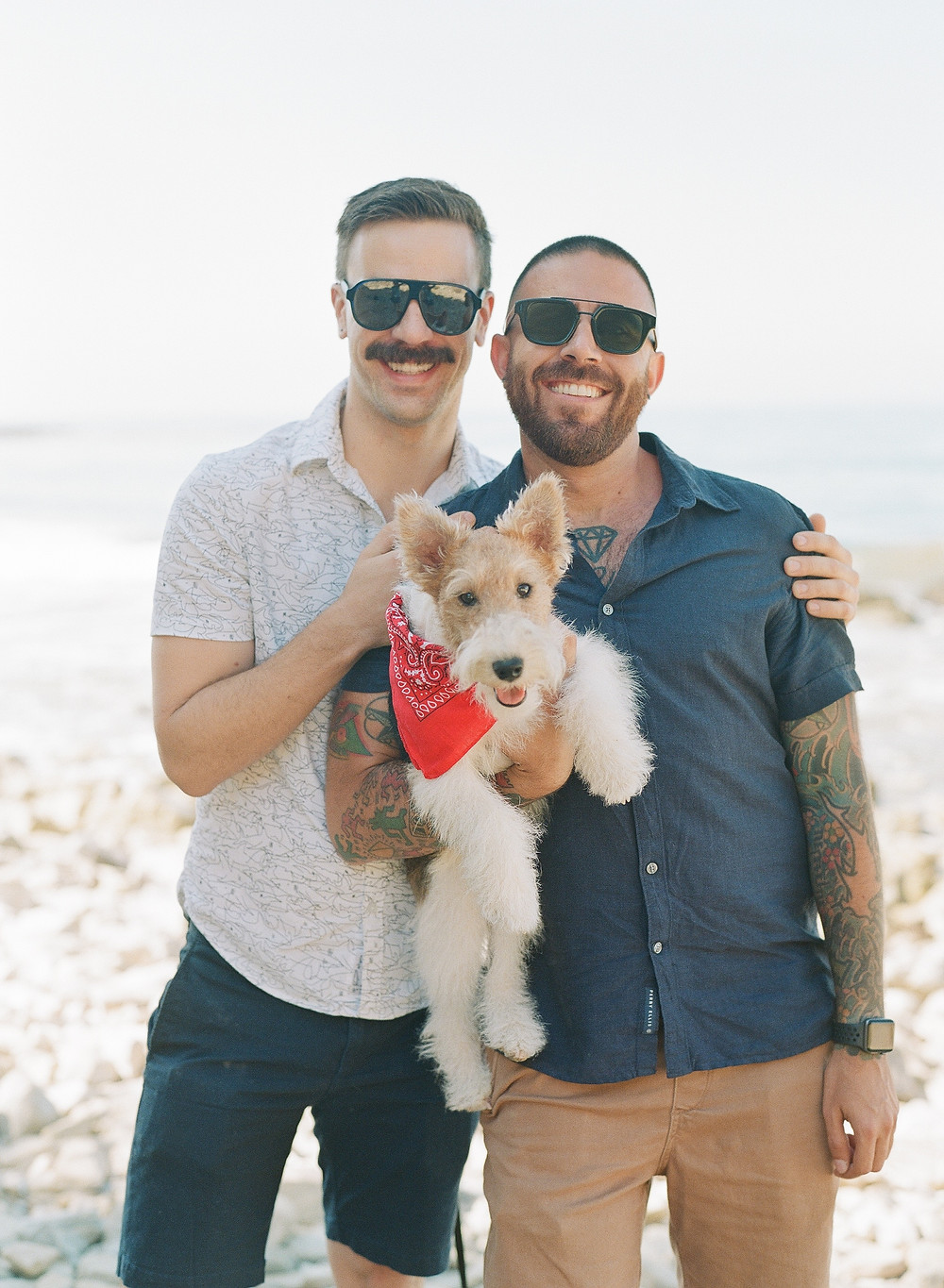 Gay family portraits on film with dog at Palos Verdes