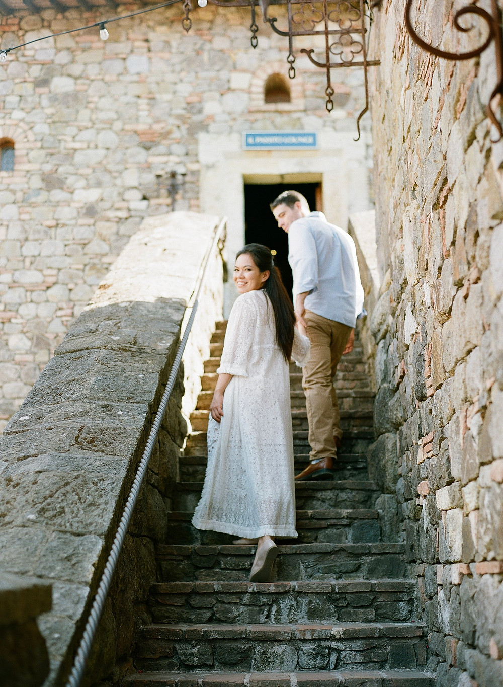 Family portrait of mom and dad at Castello di Amorosa film photography