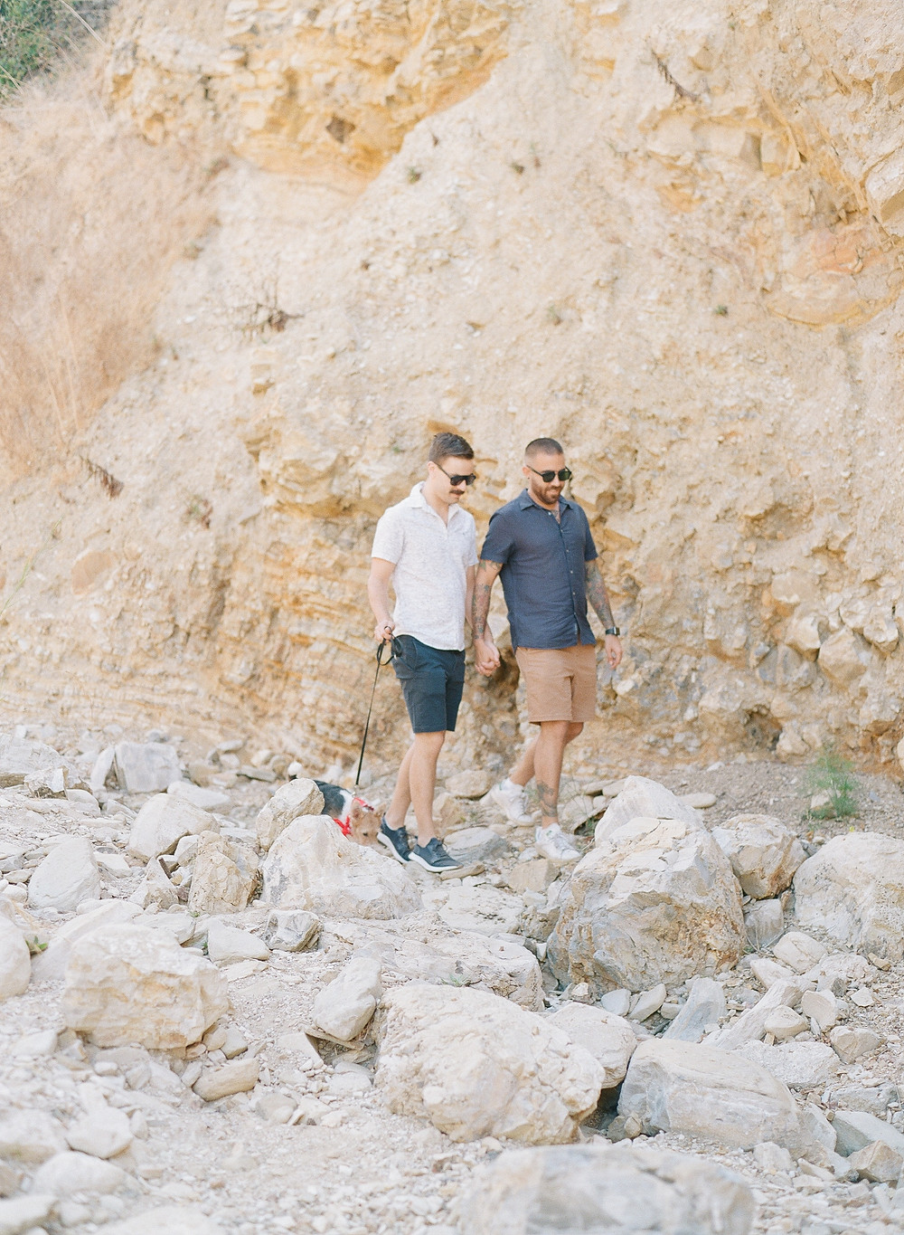 Gay couple portraits with dog at Palos Verdes Beach
