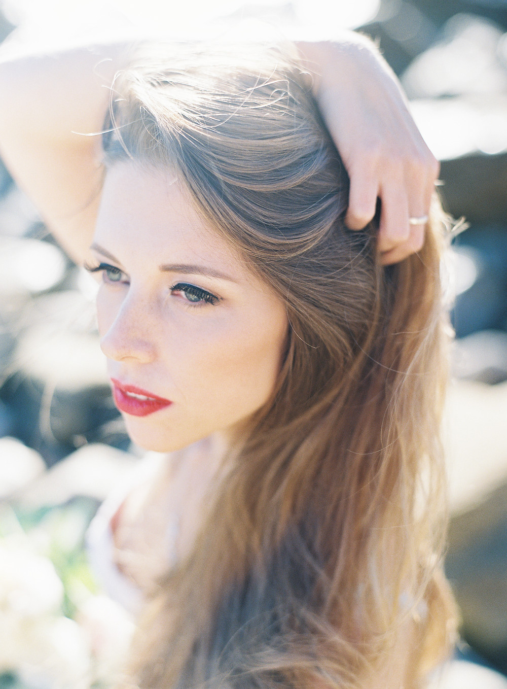 Portrait photography on film of  blonde woman wearing pink sequin dress in Palos Verdes