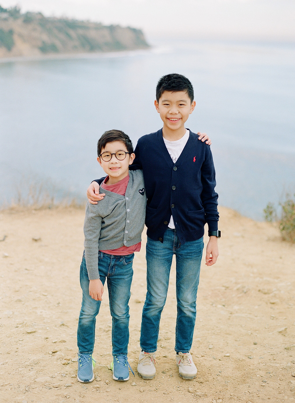 Brothers hugging in Bluff Cove Palos Verdes California Family Photos