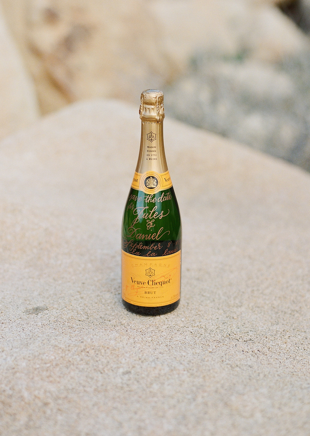 Save the date idea veuve clicquot bottle