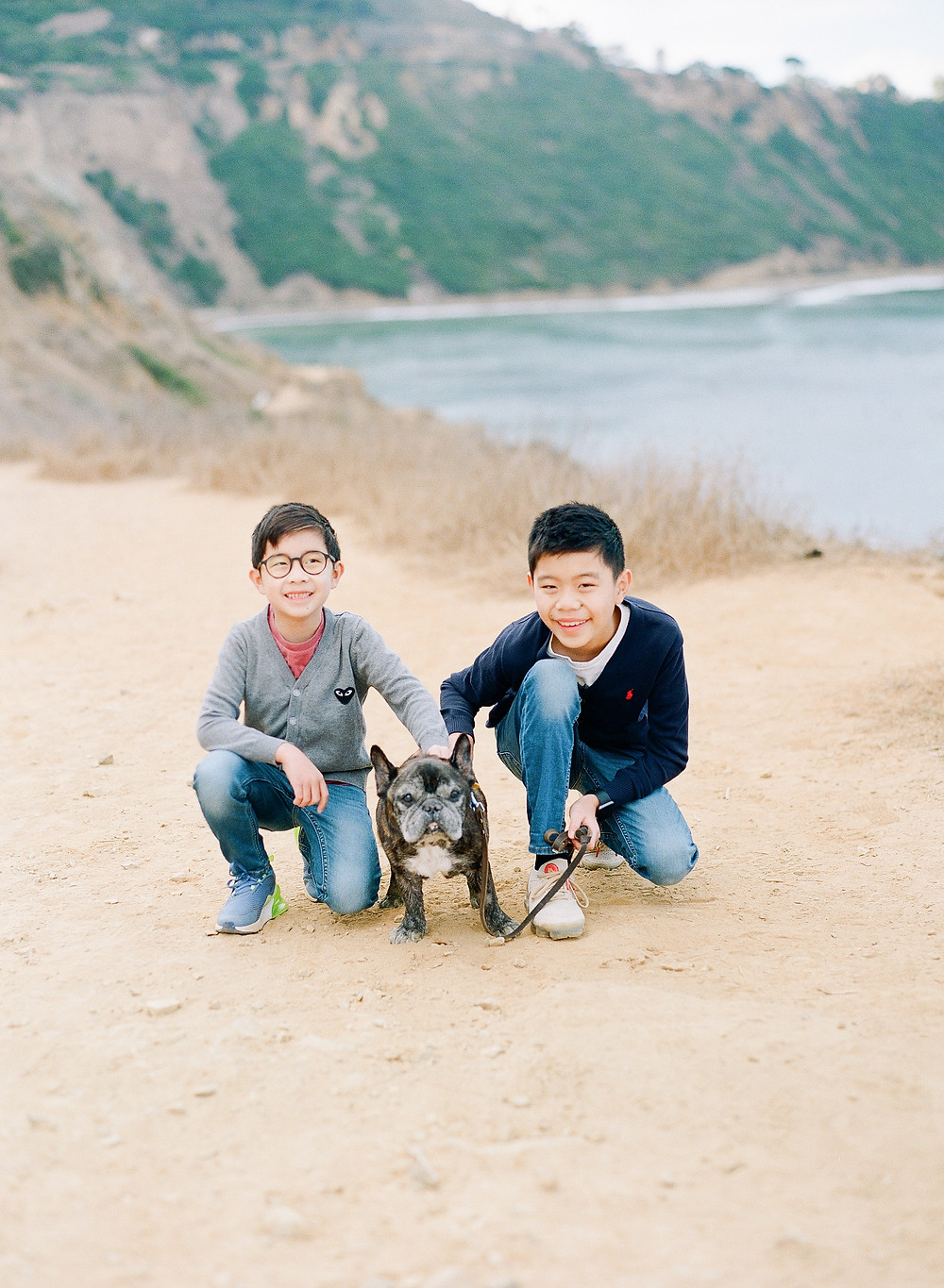 family photos of 2 boys and their french bull dog in Palos Verdes California