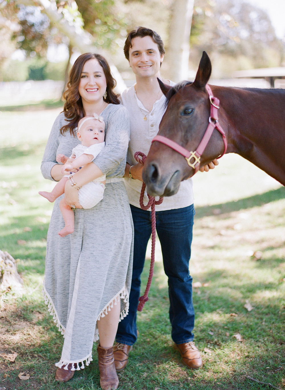 Family photo at Calamigos Equestrian in Burbank with horse