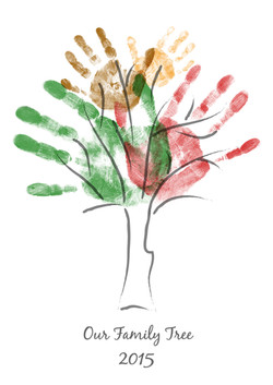 FAMILY TREE HAND PRINTS