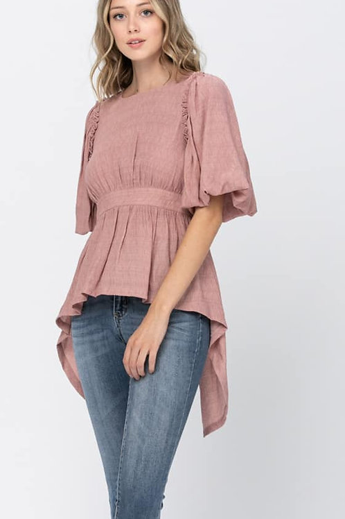 Bubble Sleeve High-Low Top