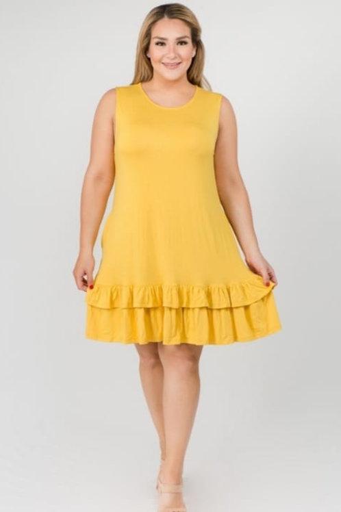 Women's Sleeveless Ruffle Dress - Plus