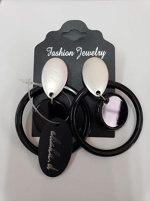 Silver & Black Hoop Earrings