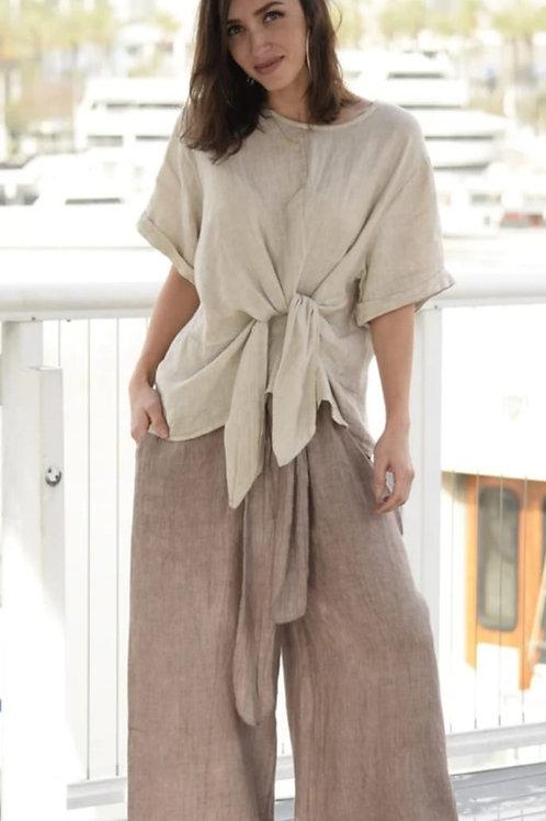 Linen Tie Front Blouse