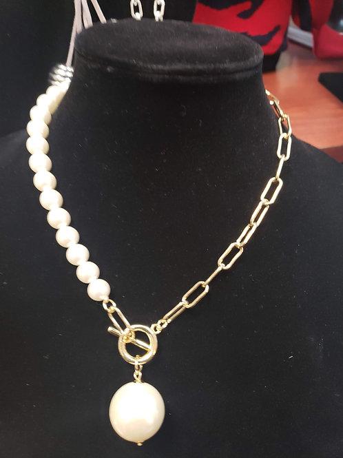 Half Pearl-Half Chain Necklace