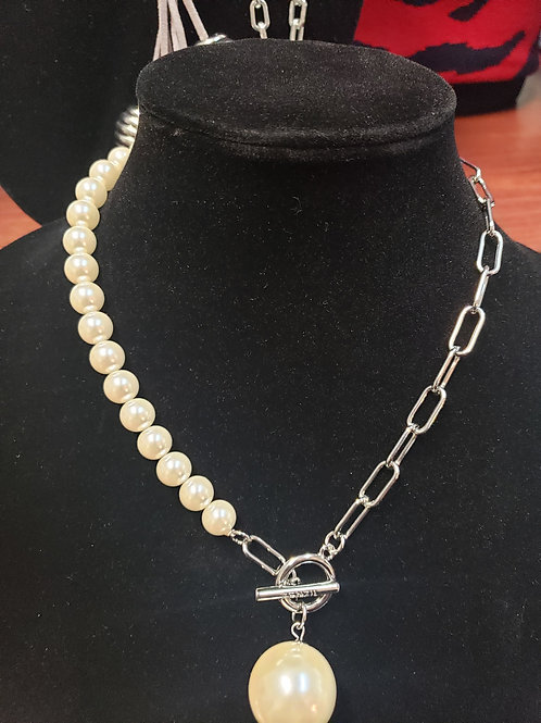 Half Pearl Silver Necklace