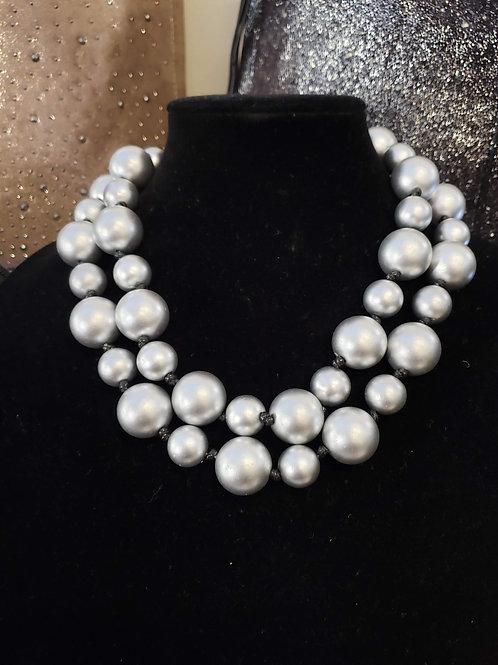 Silver Jumbo Bead Necklace