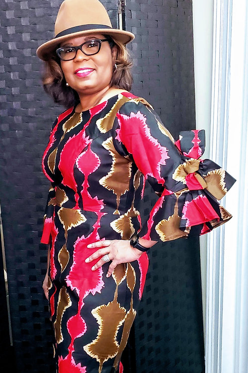 Afrocentric Dress With Bow Tie Sleeves