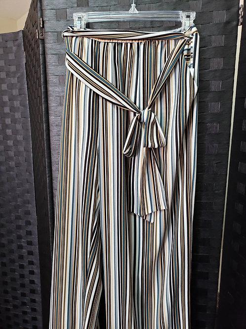Striped Lined Wide Leg Pants