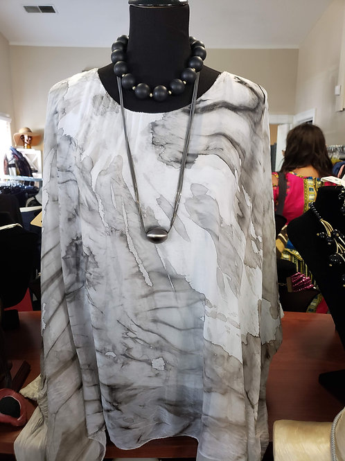 Marble Print Blouse