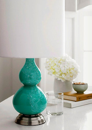 Teal Gourd Lamp with White Shade