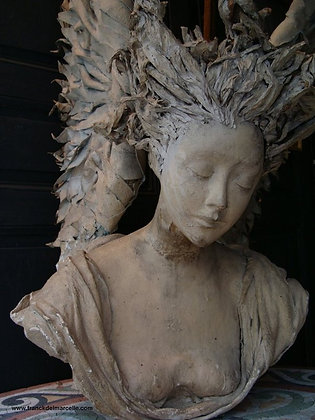 Plaster Angel Bust Sculpture