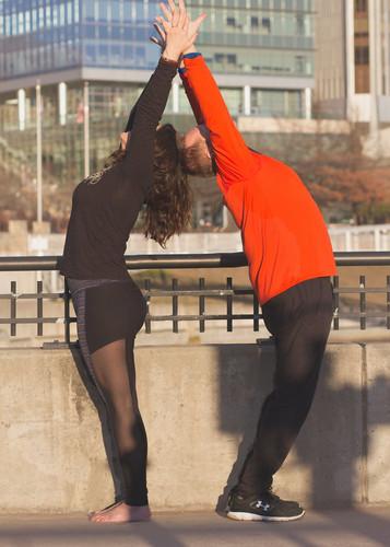 Partner yoga class