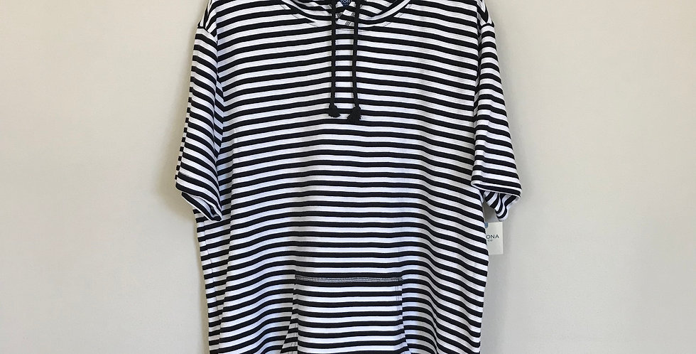 Arizona Striped Hoodie Top, Size 1X