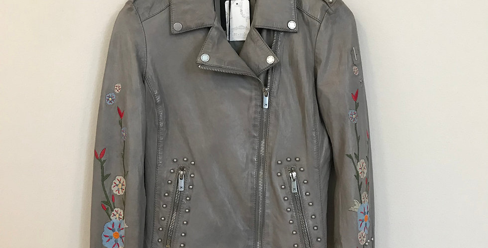 Mauritius Embroidered Leather Jacket, Size XS