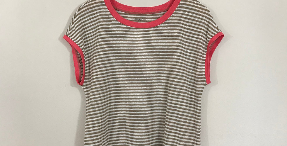 Eileen Fisher Striped Linen Tee, Size SP