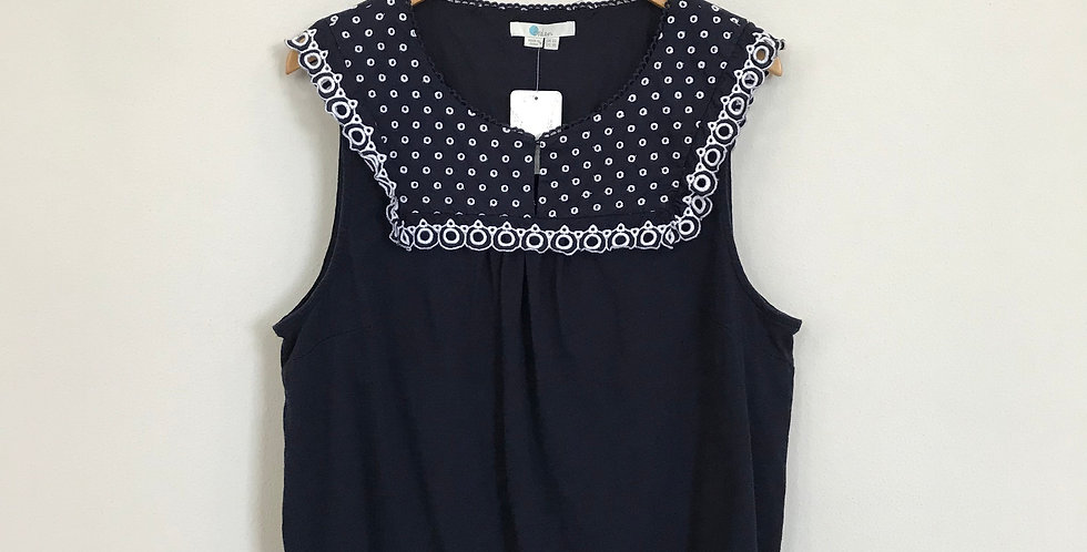 Boden Embroidered Yoke Top, Size XL